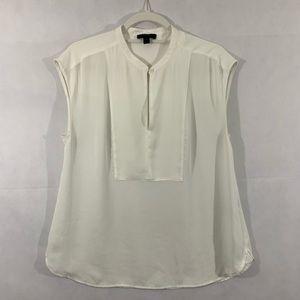 J. Crew Drapey Cap-Sleeve Blouse Size S White